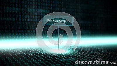 Digitale landschapssoftware bepaalde typografie met futuristische binaire code - Toegelaten Wachtwoord stock illustratie