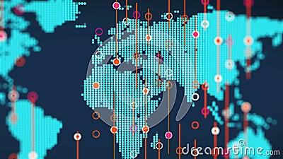 Digitale schematisch blaue Kartenrotation in Europa mit Kerzenhalterungen für Geschäftskunden stock video footage
