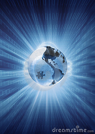 Free Digits And Data Transfer On The Planet, Earth Globe Puzzle Royalty Free Stock Photo - 1265185