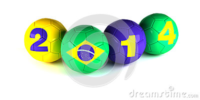 Digits of 2014 year and brazi flagl with soccer balls Editorial Photography
