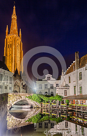 Dijver Canal in Bruges Belgium Editorial Image
