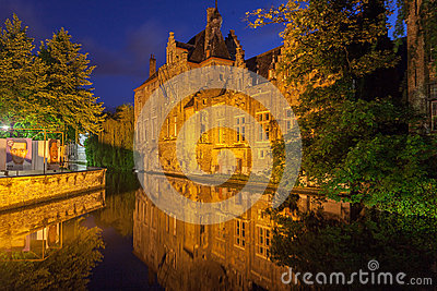 Dijver Canal in Bruges Belgium Editorial Photography