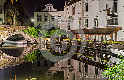 Dijver Canal in Bruges Belgium Editorial Stock Photo