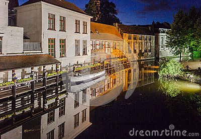 Dijver Canal in Bruges Belgium Editorial Photo