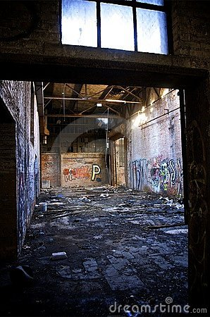 Dilapidated abandoned Detroit warehouse