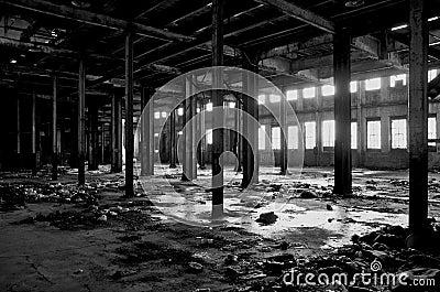 Dilapidated abandoned Detroit warehouse