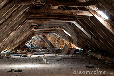 Dilapidated attic