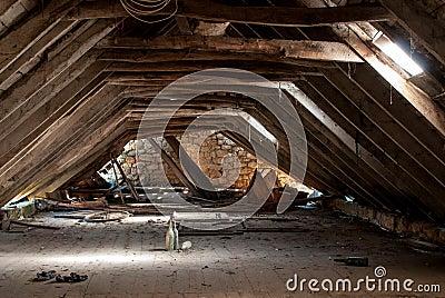 Dilapidated attic