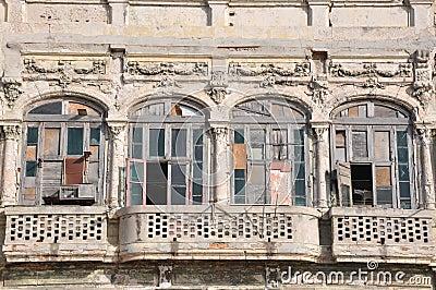 A dilapidated balcony in Havana, Cuba