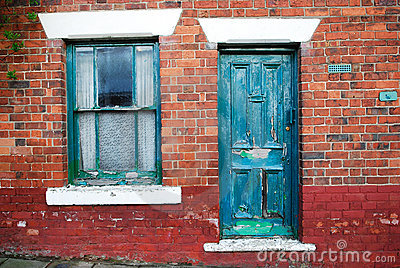 Dilapidated door and window
