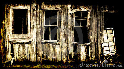 Dilapidated wooden building