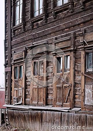 Dilapidated wooden building