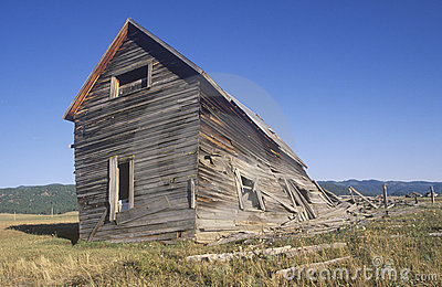 Dilapidated wooden farmhouse,