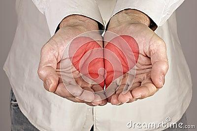 Dimensión de una variable del corazón en las manos masculinas