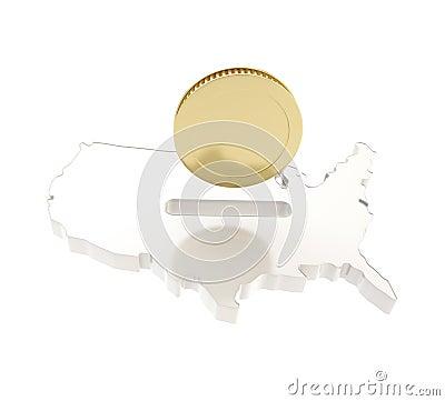 Dimensión de una variable del país de los E.E.U.U. como moneybox con una moneda de oro
