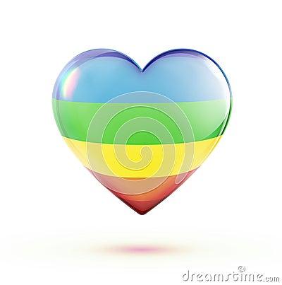 Dimensión de una variable multicolora del corazón