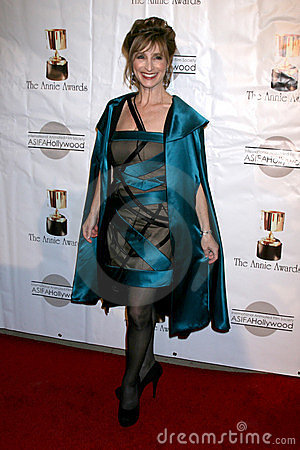 Dina Sherman, dress by Yeaggy arrives at the 39th Annual Annie Awards Editorial Stock Image