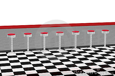 Diner counter for restaurant in retro 1950s style with several red and ...