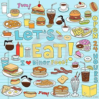 Free Diner Food Doodles Vector Illustration Set Stock Photography - 22711652