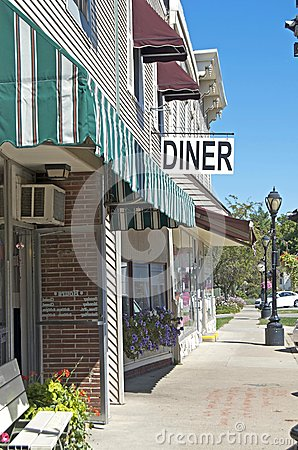 Diner Sign and Downtown Frontage