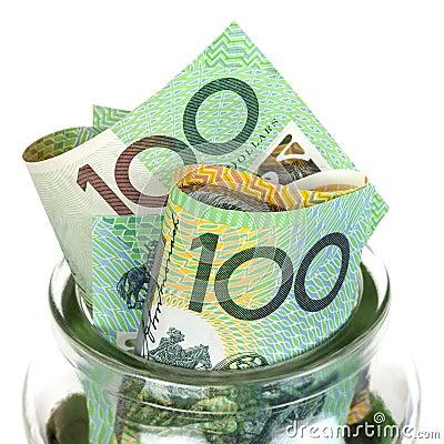 Dinero australiano en tarro