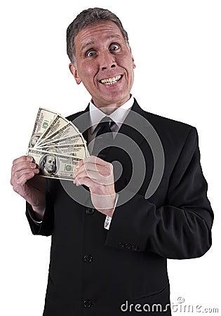 Dinero divertido de la prima de efectivo de la sonrisa del hombre de negocios