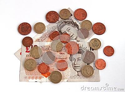 Dinero en circulación (británico) británico Fotografía editorial