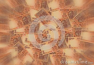 Dinero en circulación de la rupia india