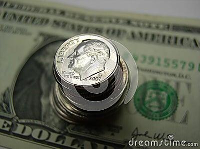 Dinero en circulación de los E.E.U.U. de Bill y del cambio