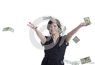 Dinero que lanza de la mujer joven de Latina