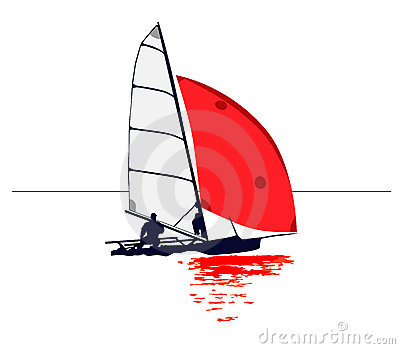Clean illustration of a dinghy with red sail : Dreamstime