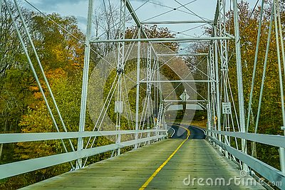 Dingmans Ferry Bridge across the Delaware River in the Poconos Mountains, connecting the states of Pennsylvania and New Jersey, US Stock Photo