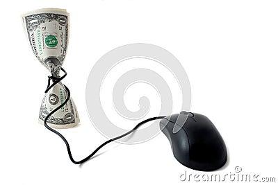 Dinheiro com rato, conceito da moeda electrónico