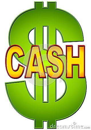 Dinheiro da palavra com sinal de dólar