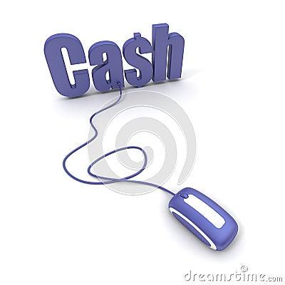 Dinheiro da palavra conectado a um rato do computador