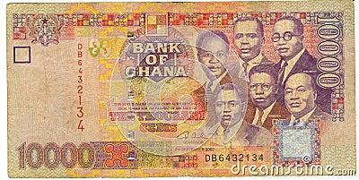 Dinheiro de papel velho Ghana da nota de banco
