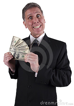Dinheiro engraçado do bônus de dinheiro do sorriso do homem de negócios