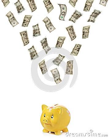 Dinheiro que chove para baixo em um piggy