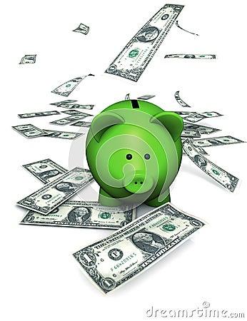 Dinheiro verde de banco Piggy