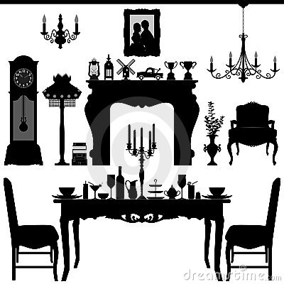 Free Dining Area Traditional Old Antique Furniture Inte Stock Photography - 20997962
