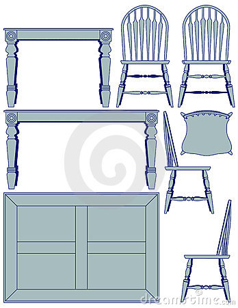 Dining Furniture - Blueprint Royalty Free Stock Photo - Image: 8582665
