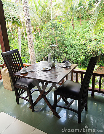 Dining patio with green valley view