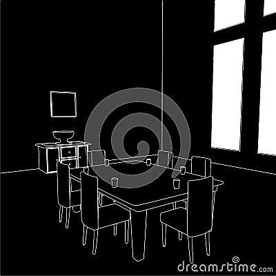 Dining Room Vector 01