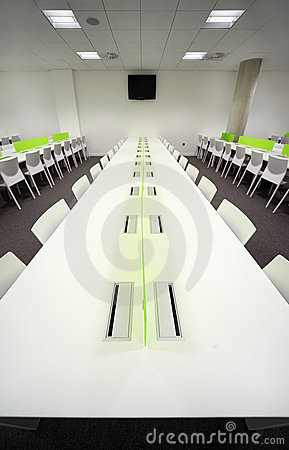 Dining room with white tables and chairs