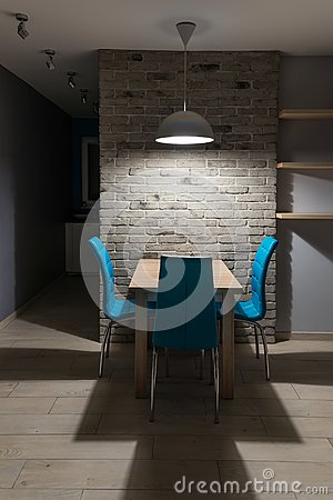 Dining Room With Old Grey Brick Wall Stock Photo - Image: 68124979
