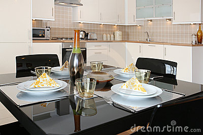 Dining Table in Modern Open Plan Apartment