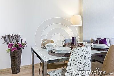 Dining table setup in modern living room