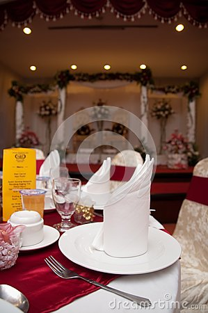 Dining Table and Wedding Reception Stage