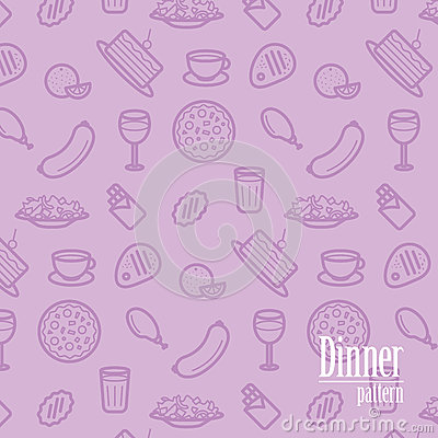 Free Dinner Background. Seamless Pattern With Line Icons Of Food Like Pizza, Cake, Steak, Chicken, Wine, Chocolate, Orange Etc. Royalty Free Stock Photography - 85087077