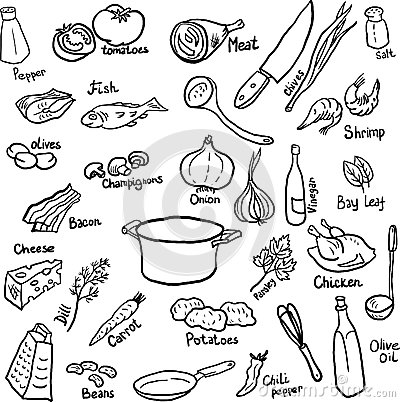 Free Dinner Doodle Set Royalty Free Stock Photos - 47007048